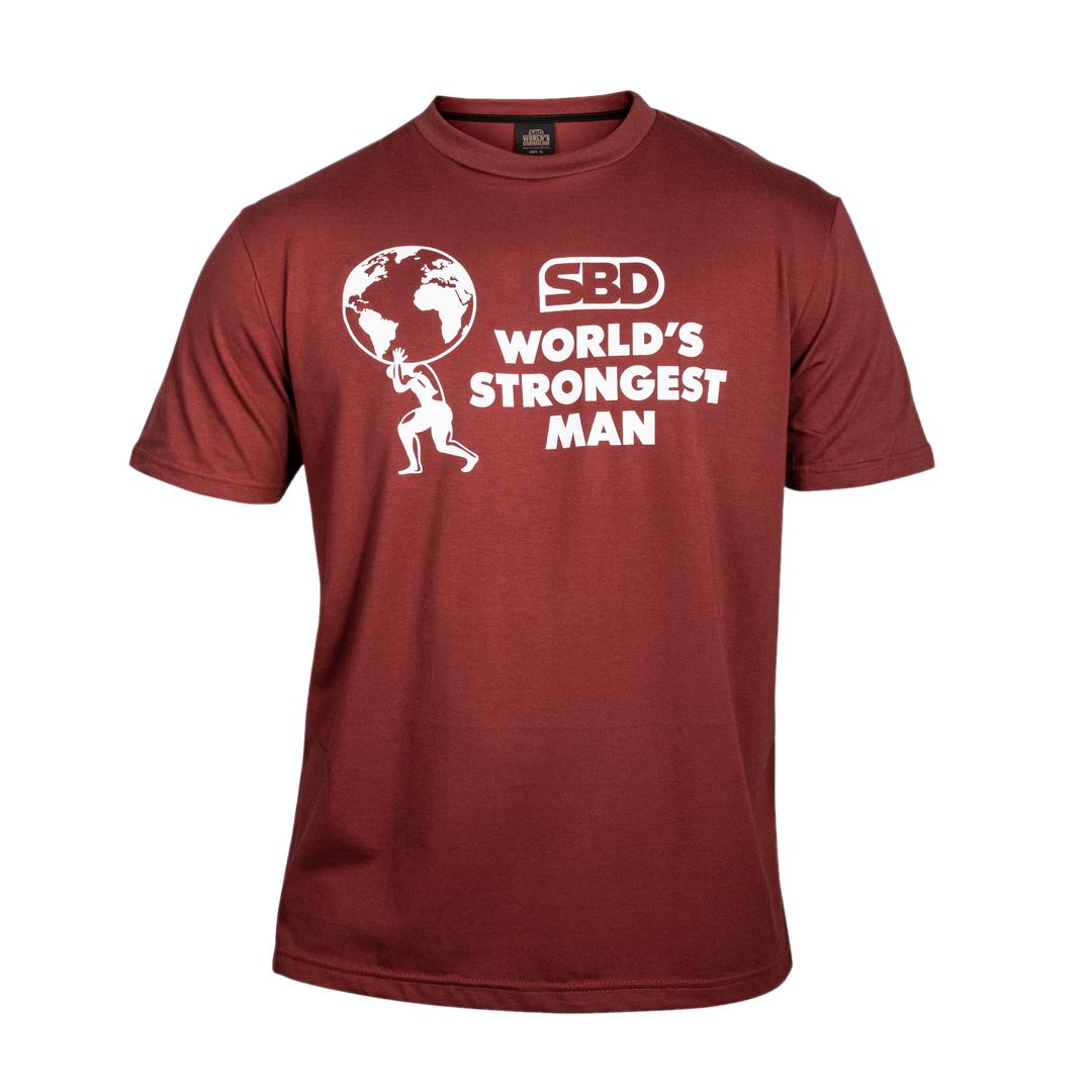 World's Strongest Man T-Shirt Frauen 2021 Feuerrot