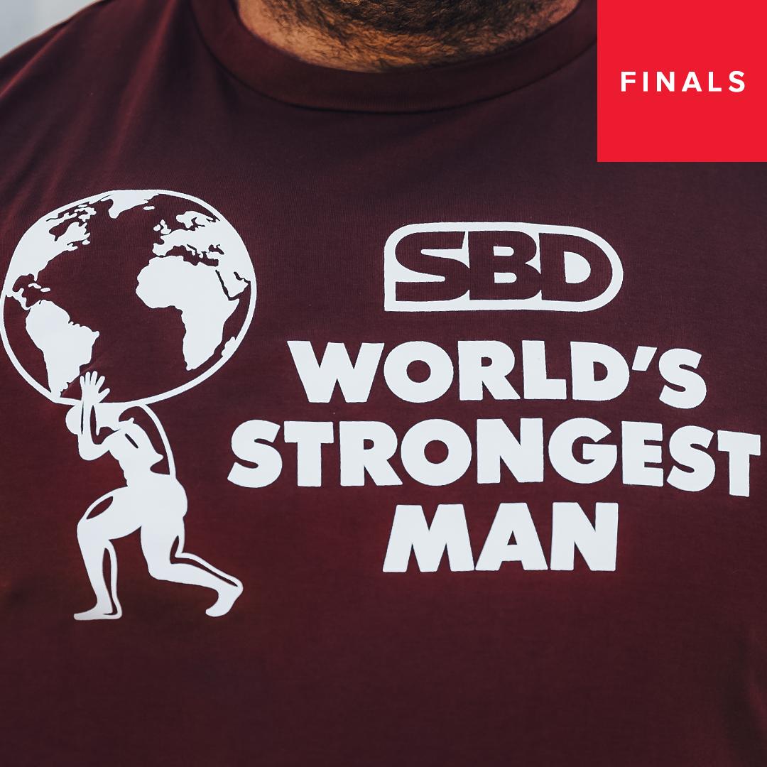 World's Strongest Man T-Shirt Männer  2021 Feuerrot